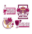 wine store or shop isolated icons grape bunch and vector image vector image
