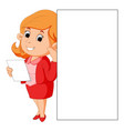 woman holding blank white sign vector image