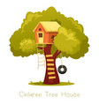 wooden kid house on tree vector image vector image