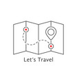 thin line travel map with pin vector image