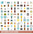 100 home plan icons set flat style vector image