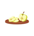 apple on wooden cutting board on white background vector image