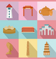 asian homeland icons set flat style vector image