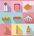 asian homeland icons set flat style vector image