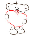 bear with heart drawing on white background vector image