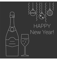 bottle and glass champagne on chalkboard vector image vector image