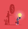 businessman with idea and his shadow get money vector image vector image