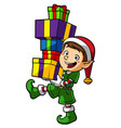cartoon elf boy carrying gifts vector image