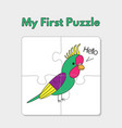 cartoon parrot puzzle template for children vector image vector image