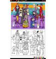 cartoon spooky halloween characters group vector image vector image