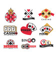 casino club isolated icons gambling and bingo vector image vector image