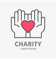 charity line icon symbol solidarity help vector image vector image
