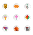 Circus icons set cartoon style vector image vector image