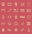classroom line color icons on red background vector image