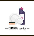 clean dishes with sponge and detergent isolated on vector image