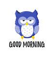 cute cartoon tired displeased owl doodle vector image vector image