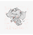 cute elephant flying hand drawn vector image vector image