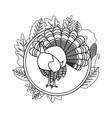 cute turkey and maple leaves vector image