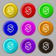 Dollar icon sign symbol on nine round colourful vector image vector image