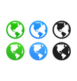 earth icon set world globes green blue and black vector image