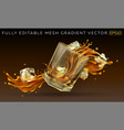 falling glass with a splash whiskey and ice vector image vector image