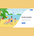 family vacation landing page template vector image