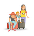 family with bags and suitcases ready for journey vector image vector image