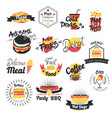 fast food hand drawn logos vector image vector image