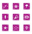 flash icons set grunge style vector image