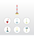 flat icon mop set of broom equipment bucket and vector image vector image