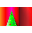 gradient red christmas background with green tree vector image vector image