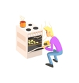 Guy Taking Out Cookies From Oven vector image vector image