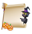 halloween black cat scroll vector image vector image