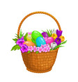 happy easter eggs and flowers in wicker basket vector image vector image