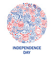 happy fourth july card hand drawn decoration vector image