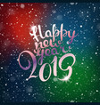 happy new 2019 year snowfall composirion with vector image vector image