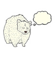 huge polar bear cartoon with thought bubble vector image vector image