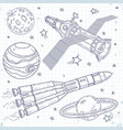 icons satellite space rocket and planets vector image vector image