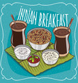 indian breakfast for two persons with muesli vector image vector image