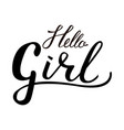 inscription brush hello girl vector image