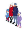 isometric happy family isolated on white father vector image vector image
