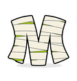 Letter M Mummy Typography icon in bandages vector image