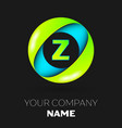 letter z logo symbol in the colorful circle vector image vector image