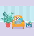 living room interior design with sleeping cat vector image vector image