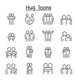 lover hug friendship relationship icon set in vector image vector image