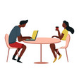 man and woman at table with coffee and laptop cafe vector image
