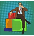 man sitting on gift vector image vector image
