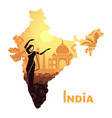 map with landscape india and a dancing vector image vector image