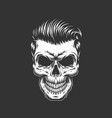 monochrome skull with hipster hairstyle vector image vector image