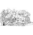 Open door doodles vector image vector image